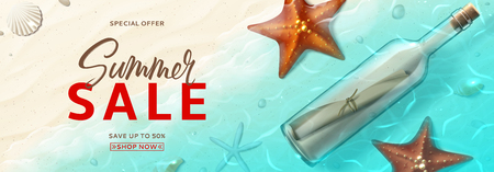 Summer sale advertisement banner. Horizontal banner with realistic glass bottle with message, seashells and starfishes on beach in sea water. Vector illustration with special discount offer.
