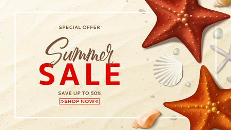 Summer sale vector banner. Summer background with top view on realistic seashells and starfishes on sea beach. Vector illustration with special discount offer. Illustration