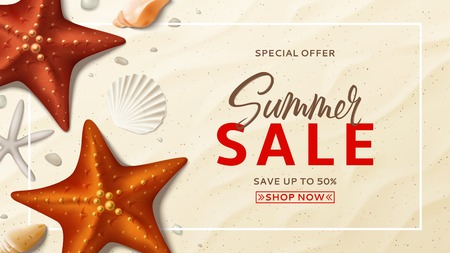 Summer sale vector background. Summer banner with top view on realistic seashells and starfishes on sea beach. Vector illustration with special discount offer. Illustration