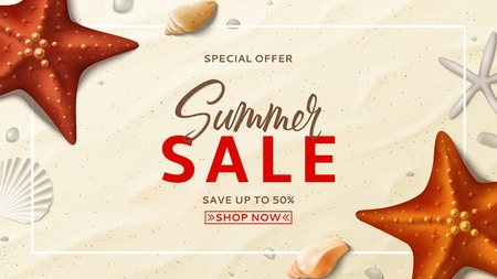 Summer sale promo vector banner. Summer background with top view on realistic seashells and starfishes on sea beach. Vector illustration with special discount offer.