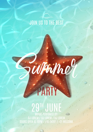 Summer party poster template. Holiday background with realistic starfish on beach in sea water. Vector illustration with invitation to nightclub. Illustration
