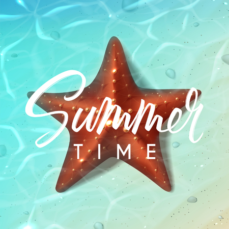 Beautiful summer vector background. Holiday background with realistic starfish on beach in sea water. Vector illustration.