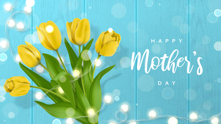 Beautiful vector card for Happy Mothers Day. Vector illustration with realistic yellow tulips flowers and shining garland on blue wooden texture with effect bokeh. Illustration