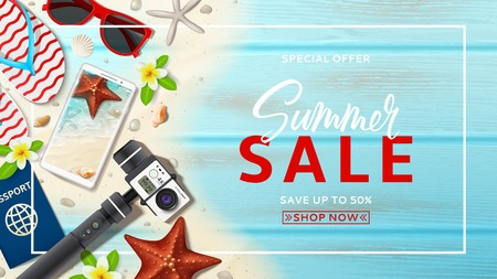 Advertisement web banner for summer sale. Horizontal banner with realistic seashells, starfishes and vacation things on beach sand and wooden texture. Vector illustration with special discount offer.