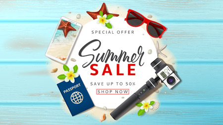 Summer sale vector design banner. Horizontal banner with realistic seashells, starfishes and vacation things on beach sand and wooden texture. Vector illustration with special discount offer.