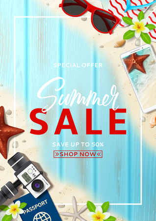 Summer sale advertisement poster. Promo flyer with realistic vacation things, seashells and starfishes on beach sand and wooden texture. Vector illustration with special discount offer.