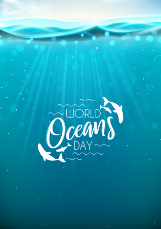 World oceans day flyer. Realistic sea scene with underwater sun beams. Vector illustration.