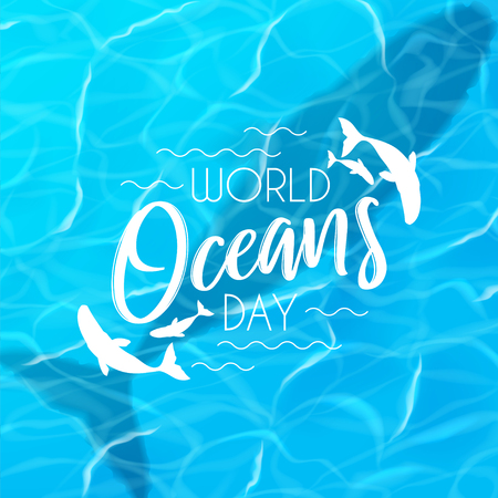 World oceans day background. Realistic sea scene with top view on water surface with whale. Vector illustration.