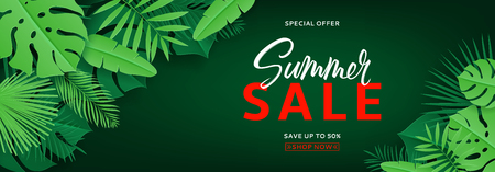 Tropical banner with green leaves for summer sale. Vector illustration with tropical leaves in paper cut style on dark green background. Stock Illustratie