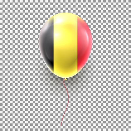 Color air balloon isolated on transparent background. Vector illustration with realistic air balloon colored in national flag of Belgium.  イラスト・ベクター素材