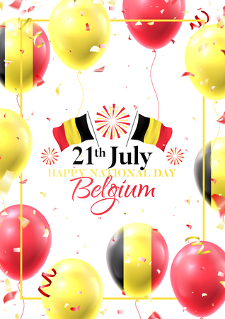 Happy national Belgium day flyer. Vector illustration with realistic air balloons colored in Belgium flags. Festive background with color serpentine and confetti.