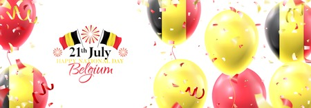 Happy national Belgium day festive banner. Vector illustration with realistic air balloons colored in Belgium flags. Holiday background with color serpentine and confetti.