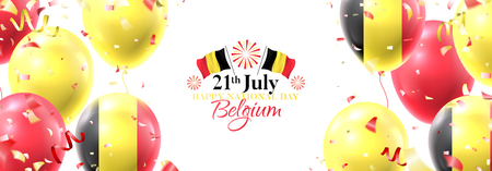 Happy national Belgium day festive horizontal banner. Vector illustration with realistic air balloons colored in Belgium flags. Holiday background with color serpentine and confetti.