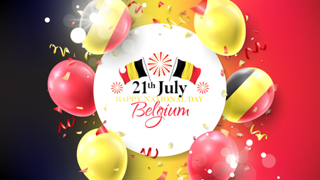Happy national Belgium day banner. Vector illustration with realistic air balloons colored in Belgium flags. Festive background with color serpentine and confetti.