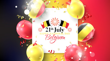 Happy national Belgium day holiday banner. Vector illustration with realistic air balloons colored in Belgium flags. Festive background with color serpentine and confetti.  イラスト・ベクター素材