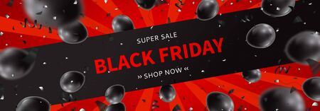 Black Friday sale horizontal banner. Realistic air black balloons with serpentine and confetti on red background. Seasonal discount offer. Ilustrace