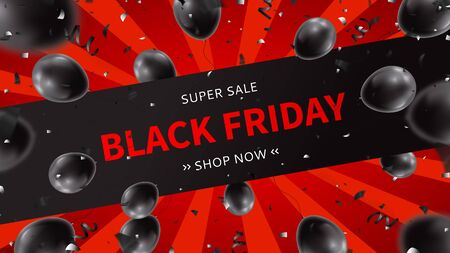 Black Friday sale web banner. Realistic air black balloons with serpentine and confetti on red background. Seasonal discount offer. Ilustrace
