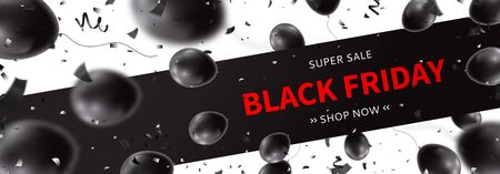 Horizontal banner template for Black Friday sale. Realistic air black balloons with serpentine and confetti on white background. Seasonal discount offer. Ilustrace
