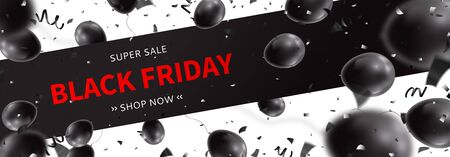 Horizontal banner for Black Friday sale. Realistic air black balloons with serpentine and confetti on white background. Seasonal discount offer.