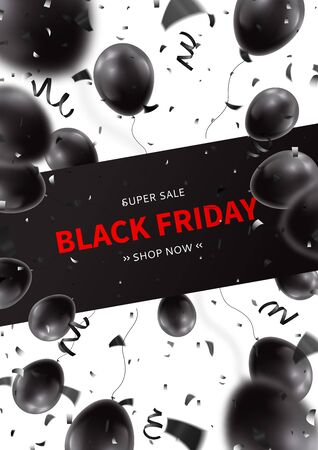 Black Friday sale flyer template. Realistic air black balloons with serpentine and confetti on white background. Seasonal discount offer. Vector illustration. Illustration