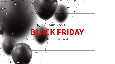Black Friday sale advertisement banner. Realistic air black balloons with confetti on white background. Seasonal discount offer. Ilustrace