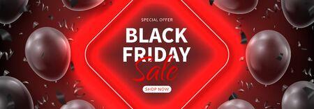Black Friday sale horizontal dark banner.