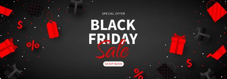 Promo banner for Black Friday sale. Web banner for seasonal discount offer. Realistic 3d paper packages, tags, gift boxes and shop baskets on black background.