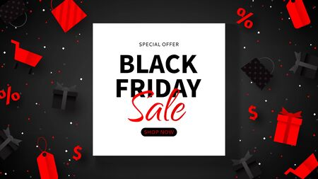 Black Friday sale advertisement banner. Web banner for seasonal discount offer. Realistic 3d paper packages, tags, gift boxes and shop baskets on black background. Ilustrace