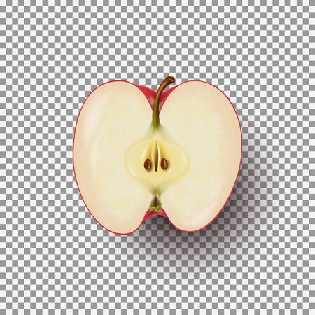 Realistic sliced apple isolated on transparent background. A half of fresh red apple.