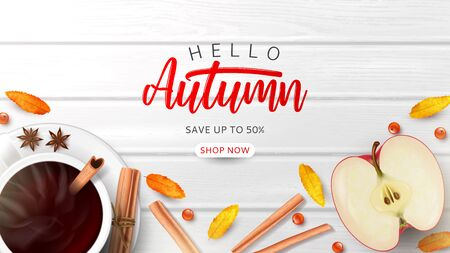 Promo banner for autumn sale. Top view on composition with coffee cup, sliced apple, rowan berries and leaves and cinnamon sticks on wooden texture. Ilustrace