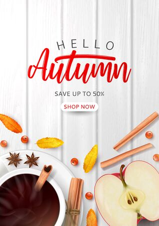 Promo flyer for autumn sale. Top view on composition with coffee cup, sliced apple, rowan berries and leaves and cinnamon sticks on wooden texture.