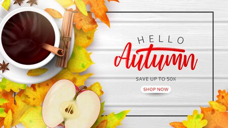 Promo banner for autumn sale. Top view on composition with coffee cup, sliced apple and different autumn leaves on wooden texture. Ilustrace