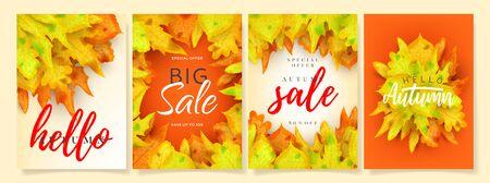 Set of beautiful autumn sale posters. Illustration