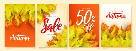Collection of beautiful autumn sale posters.