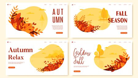 Collection of autumn flat design banners. Seasonal nature banners with autumn landscapes. Social media banner, promo design, web page templates. Ilustrace