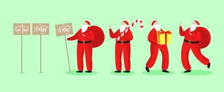 Set of Santa Clauses in different poses. Vector illustration. Holiday concept in flat style. Collection of Christmas Santa Clauses. Happy New Year banner.