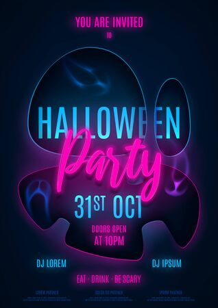 Halloween party poster template. Invitation to night club with neon text. Halloween greeting card. Vector illustration with transparent ghosts.