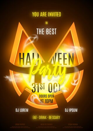 Halloween party flyer template. Invitation to night club with neon text. Halloween greeting card. Vector illustration with transparent ghosts. Ilustrace