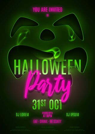 Flyer template for Halloween party. Invitation to night club with neon text. Halloween greeting card. Vector illustration with transparent ghosts.