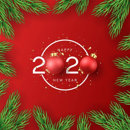 2020 happy new year sign design. Holiday label with red Christmas balls and golden confetti isolated on red background.