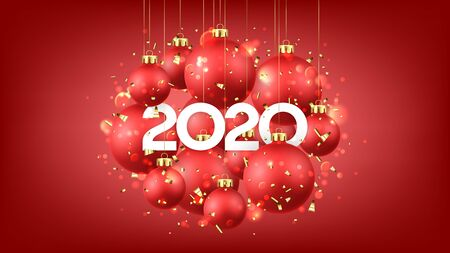 Beautiful Happy New Year card. Holiday vector illustration with realistic red Christmas balls and 2020 number. Decoration balls, golden confetti and effect bokeh on red background.