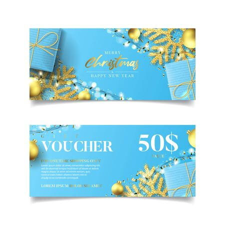 Gift voucher for Christmas and New Year sale. Vector illustration with realistic blue gift boxes, garlands, Christmas balls, snowflakes and confetti. Discount coupon usable for invitation or ticket.