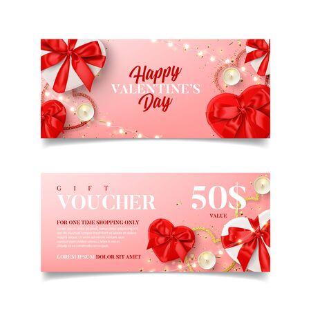 Cheque regalo para la venta de San Valentín. Ilustración de vector con cajas de regalo rojas y blancas, guirnaldas de luz, velas y confeti sobre fondo rosa. Cupón de descuento utilizable para invitación o boleto.