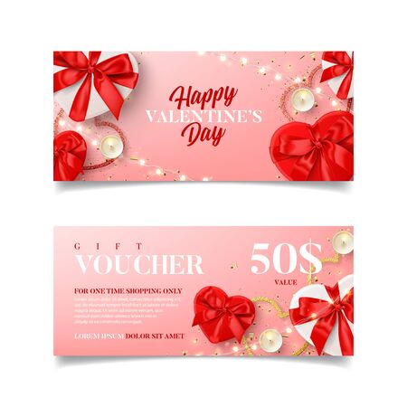 Gift voucher for Valentine's Day sale. Vector illustration with red and white gift boxes, light garland, candles and confetti on pink background. Discount coupon usable for invitation or ticket.