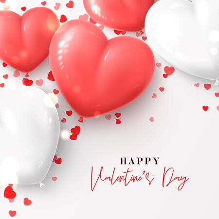 Happy Valentines Day card. Vector illustration with realistic pink and white air balloons and confetti on white background. Holiday gift card.