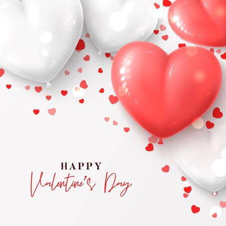Happy Valentines Day festive background. Vector illustration with realistic pink and white air balloons and confetti on white background. Holiday gift card.