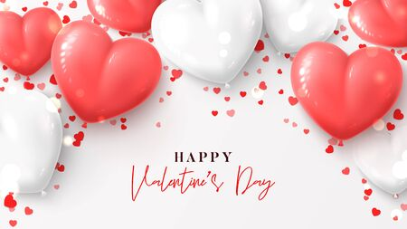 Happy Valentines Day greeting banner. Vector illustration with realistic pink and white air balloons and confetti on white background. Holiday gift card.