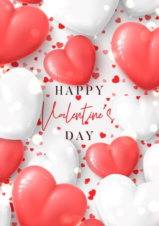 Happy Valentines Day greeting poster. Vector illustration with realistic pink and white air balloons and confetti on white background. Holiday gift card.