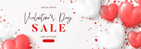 Happy Valentines Day sale banner. Vector illustration with realistic pink and white air balloons and confetti on white background. Holiday gift card. Promotion discount banner.