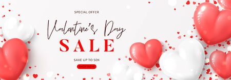 Valentines Day sale horizontal banner. Vector illustration with realistic pink and white air balloons and confetti on white background. Holiday gift card. Promotion discount banner.